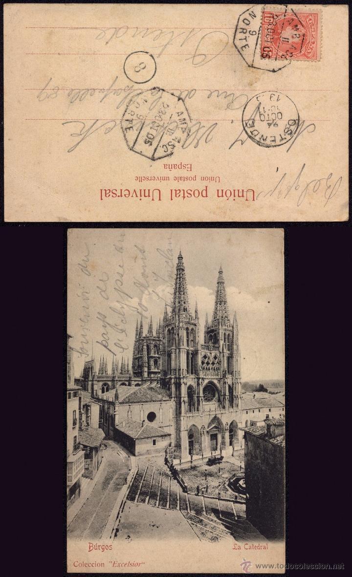 AMBULANTE NORTE 9 - POSTAL DE BURGOS A OSTENDE BÉLGICA-FERROCARRIL - SELLO CADETE AÑO 1905 (Sellos - España - Alfonso XIII de 1.886 a 1.931 - Cartas)