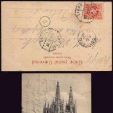 Sellos: AMBULANTE NORTE 9 - POSTAL DE BURGOS A OSTENDE BÉLGICA-FERROCARRIL - SELLO CADETE AÑO 1905. Lote 49274078