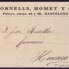 Sellos: ESPAÑA. (CAT. 218).1900. TARJETA POSTAL PARTICULAR DE FORNELLS, HOMET Y Cª DE BARCELONA. 10 CTS. RRR. Lote 50824929