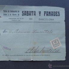 Sellos: DELANTERA DE SOBRE / SABATA Y PANADES / TALLER DE CALDERERIA / BARCELONA. Lote 51058299