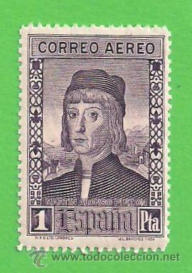 EDIFIL 556. DESCUBRIMIENTO DE AMÉRICA - MARTÍN ALONSO PINZÓN - C. AÉREO (1930).* NUEVO - MARQUILLADO (Sellos - España - Alfonso XIII de 1.886 a 1.931 - Nuevos)
