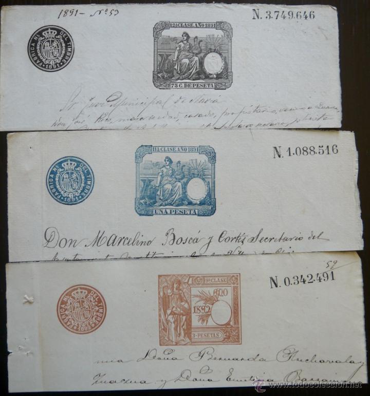 TRES SELLOS CLASICOS FISCALES 1891, 1891 Y 1892. ANTIGUOS SELLOS FISCALES TIMBROLOGIA FILATELIA FISC (Sellos - España - Alfonso XIII de 1.886 a 1.931 - Usados)
