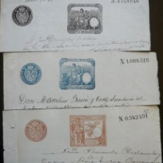 Sellos: TRES SELLOS CLASICOS FISCALES 1891, 1891 Y 1892. ANTIGUOS SELLOS FISCALES TIMBROLOGIA FILATELIA FISC. Lote 51390030