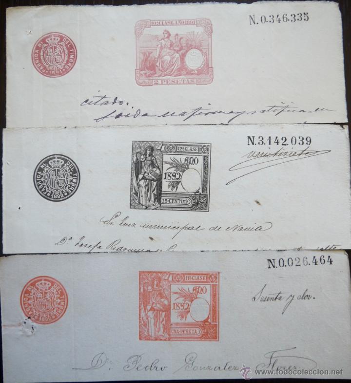 TRES SELLOS CLASICOS FISCALES 1891, 1892 Y 1892. ANTIGUOS SELLOS FISCALES TIMBROLOGIA FILATELIA FISC (Sellos - España - Alfonso XIII de 1.886 a 1.931 - Usados)
