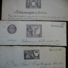Sellos: TRES SELLOS CLASICOS FISCALES 1892, 1902 Y 1903. ANTIGUOS SELLOS FISCALES TIMBROLOGIA FILATELIA FISC. Lote 51390168