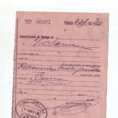 Sellos: RESGUARDO DE GIRO POSTAL - AÑO 1918 - MANUSCRITO - CAÑETE (CUENCA). Lote 51476644