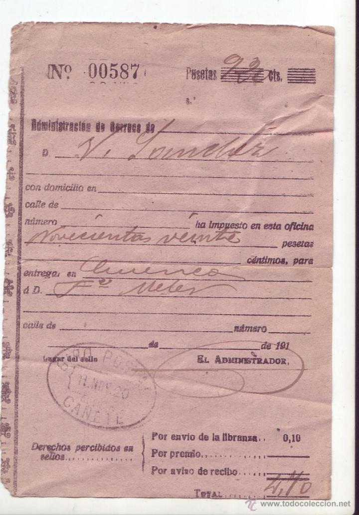 RESGUARDO DE GIRO POSTAL - AÑO 1920 - MANUSCRITO - CAÑETE (CUENCA) (Sellos - España - Alfonso XIII de 1.886 a 1.931 - Cartas)
