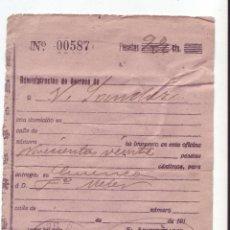 Sellos: RESGUARDO DE GIRO POSTAL - AÑO 1920 - MANUSCRITO - CAÑETE (CUENCA). Lote 51477859
