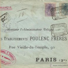 Sellos: BARCELONA CC CERTIFICADA 1916 A PARIS SELLOS MEDALLON ALFONSO XIII MAT CERTIFICADO Y AMBULANTE PORT . Lote 51542815