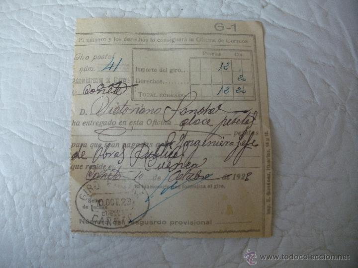 RESGUARDO DE GIRO POSTAL - AÑO 1923 - MANUSCRITO - CAÑETE (CUENCA) (Sellos - España - Alfonso XIII de 1.886 a 1.931 - Cartas)