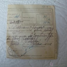 Sellos: RESGUARDO DE GIRO POSTAL - AÑO 1923 - MANUSCRITO - CAÑETE (CUENCA). Lote 51543835