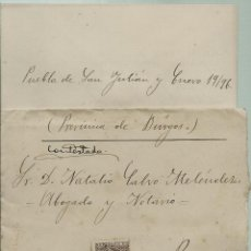 Sellos: CARTA CON TEXTO CIRCULADA EL 19 - 1 - 1896 CON UN 15 CTMOS ALFONSO XIII EL PELON. Lote 52005969