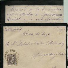 Sellos: CARTA DE LUTO CON TEXTO CIRCULADA EL 23 - 6 - 1898 CON UN 15 CTMOS ALFONSO XIII EL PELON. Lote 52006421
