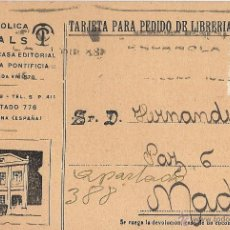 Sellos: TIPOGRAFÍA CATÓLICA CASALS. HOJA DE PEDIDO DE LIBRERÍA. 16 DE ENERO DE 1928. CIRCULADA. ALFONSO XIII. Lote 52463802