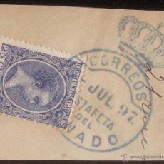 Sellos: ESPAÑA. (CAT. 221). 25 CTS. S. FRAG. MAT. * CORREOS/ESTAFETA/DEL/SENADO * AZUL. RARO Y DE LUJO.. Lote 52531375