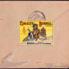Sellos: ESPAÑA. (CAT. 290 + VIÑETA). 1920. SOBRE DE BARCELONA. 20 CTS.+ VIÑETA AL DORSO. MUY RARA.. Lote 52594076