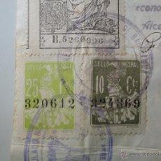 Sellos: BARCELONA. 1920. DOS SELLOS LOCALES 10 Y 25 CENTIMOS. TAMPÓN CONSULADO EMBAJADA ARGENTINA.. Lote 52633853