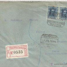 Sellos: MADRID 1926 CC CERTIFICADA A PARIS SELLOS VAQUER 40+40 CTS MAT SECCION NOCTURNA. Lote 52878952