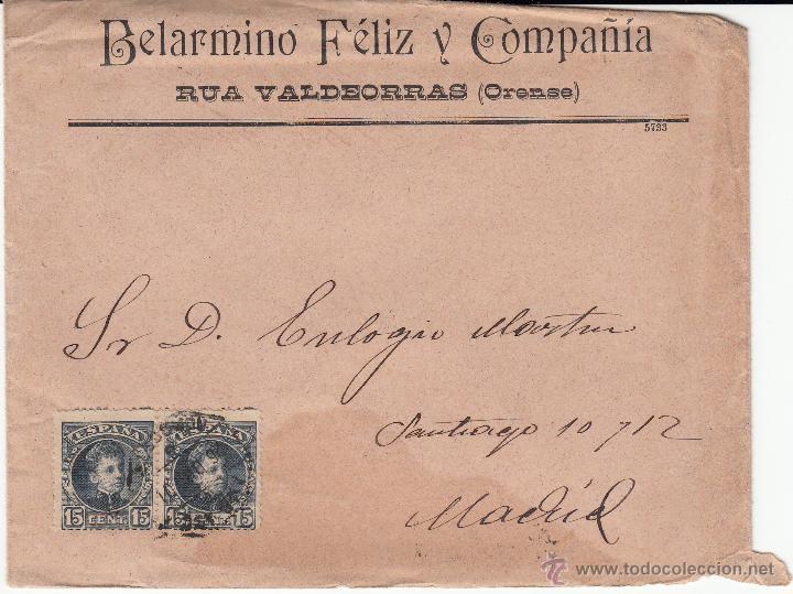 SOBRE CON CARTA BELARMINO FELIZ DE RUA VALDEORRAS-ORENSE- (Sellos - España - Alfonso XIII de 1.886 a 1.931 - Cartas)
