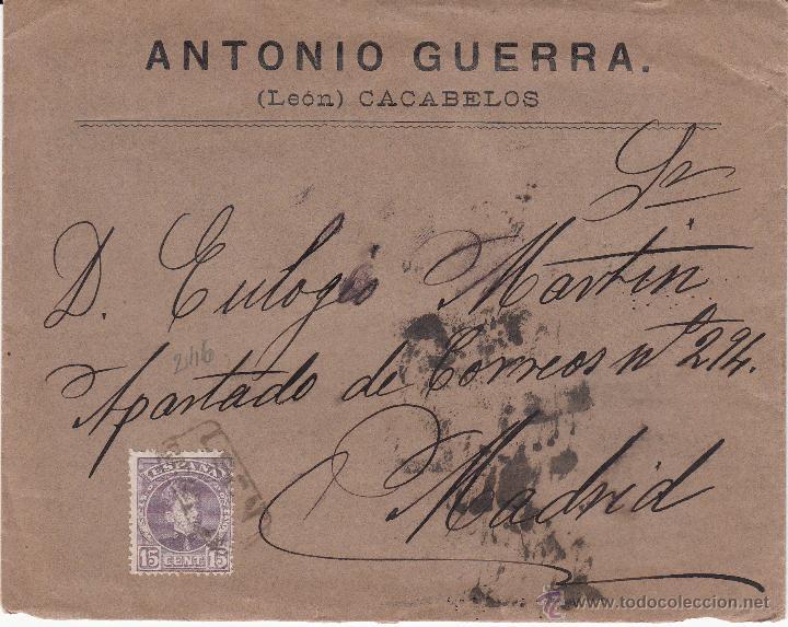 CARTA DE ANTONIO GUERRA DE CACABELOS - LEÓN- CON CARTERÍA AÑO 1901 (Sellos - España - Alfonso XIII de 1.886 a 1.931 - Cartas)