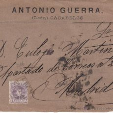 Sellos: CARTA DE ANTONIO GUERRA DE CACABELOS - LEÓN- CON CARTERÍA AÑO 1901. Lote 53424007