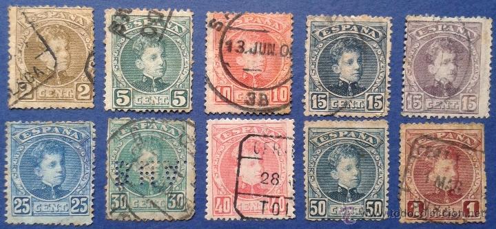 10 SELLOS USADOS, ESPAÑA, 1901-5 (Sellos - España - Alfonso XIII de 1.886 a 1.931 - Usados)