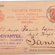 Francobolli: F6-25-ENTERO POSTAL BARCELONA- SANS 1903. MARCA LA DEVANTERA QUINCENARI CATALANISTA. Lote 53586724