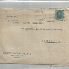 Sellos: SOBRE, CARTA Y TELEGRAMA. MADRID. INTERIOR. MATASELLOS RODILLO. 23 JUNIO 1928. ALFONSO XIII 15CS. Lote 53633944