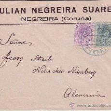 Sellos: F13-19-CARTA ALFONSO XIII MEDALLON . NEGREIRA- ALEMANIA 1921. FECHADOR AZUL. Lote 53690444