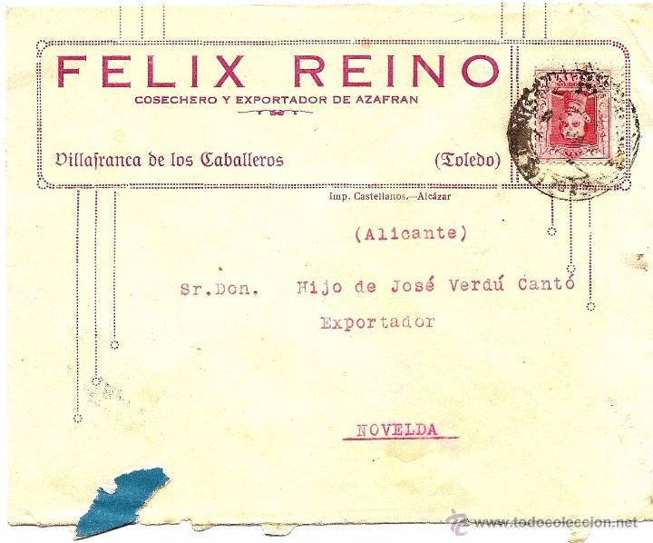 CARTA CIRCULADA FELIX REINO DE VILLAFRANCA DE LOS CABALLEROS (TOLEDO) A NOVELDA (ALICANTE) 1930 (Sellos - España - Alfonso XIII de 1.886 a 1.931 - Cartas)