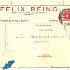 Sellos: CARTA CIRCULADA FELIX REINO DE VILLAFRANCA DE LOS CABALLEROS (TOLEDO) A NOVELDA (ALICANTE) 1930. Lote 53705284