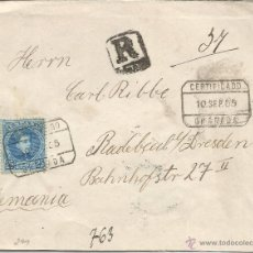 Sellos: GRANADA CC CERTIFICADA A ALEMANIA 1905 SELLO ALFONSO XIII CADETE AL DORSO LLEGADA. Lote 53789168