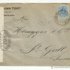 Sellos: CIRCULADA 1916 DE BARCELONA A SAINT GALLEN SUIZA CON CENSURA MILITAR VER FOTO. Lote 53812683