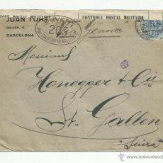 Sellos: CIRCULADA 1916 DE BARCELONA A SAINT GALLEN SUIZA CON CENSURA MILITAR VER FOTO . Lote 53826962