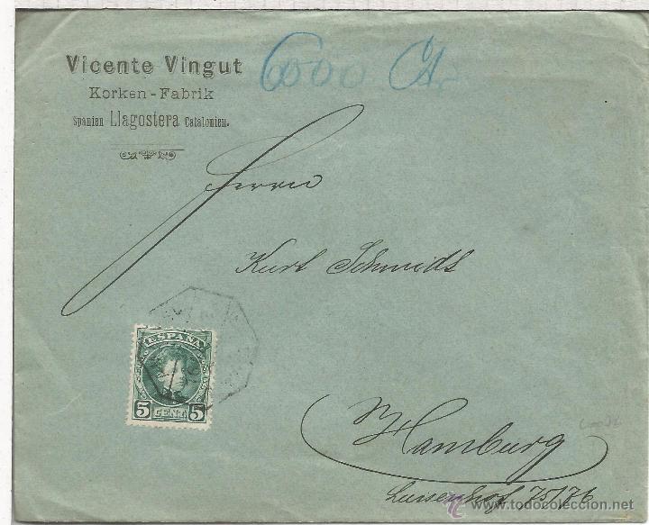 LLAGOSTERA GIRONA CC A HAMBURG SELLOS ALFONSO XIII CADETE MAT AMBULANTE FERROCARRIL (Sellos - España - Alfonso XIII de 1.886 a 1.931 - Cartas)