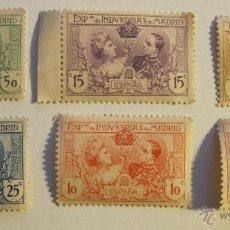 Sellos: SEIS SELLOS SIN CIRCULAR EXPOSICION DE INDUSTRIAS DE MADRID 1907 CORREOS. Lote 54440455