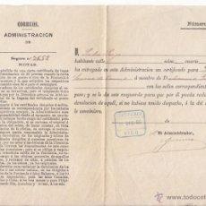 Sellos: RESGUARDO DE CERTIFICADO DE VIGO. PONTEVEDRA. GALICIA. CUÑO EN AZUL. 1886. Lote 54542003