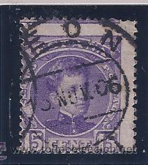 EDIFIL 246 ALFONSO XIII. TIPO CADETE. 1901-1905 (VARIEDAD...GRANDES DESPLAZAMIENTOS DEL DENTADO) (Sellos - España - Alfonso XIII de 1.886 a 1.931 - Usados)