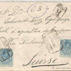Sellos: BILBAO CC 1919 A SUIZA CERTIFICADA SELLOS ALFONSO XIII AL DORSO LLEGADA. Lote 54827271