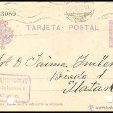 Sellos: ENTERO POSTAL CIRCULADO................MADRID - MATARÓ.....1922. Lote 55059666