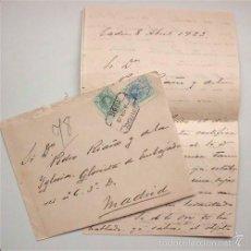 Sellos: CARTA Y SOBRE CON SELLOS DE ALFONSO XIII. FECHADA EN CÁDIZ EN 1923. Lote 55570034
