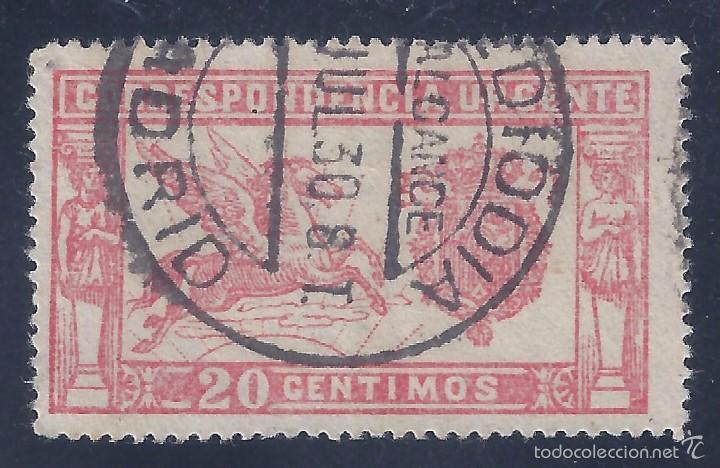 Sellos: EDIFIL 256 PEGASO 1905. MATASELLOS ALCANCE MEDIODÍA MADRID (VARIEDAD...EDIFIL 256TB). LUJO. - Foto 2 - 55874636