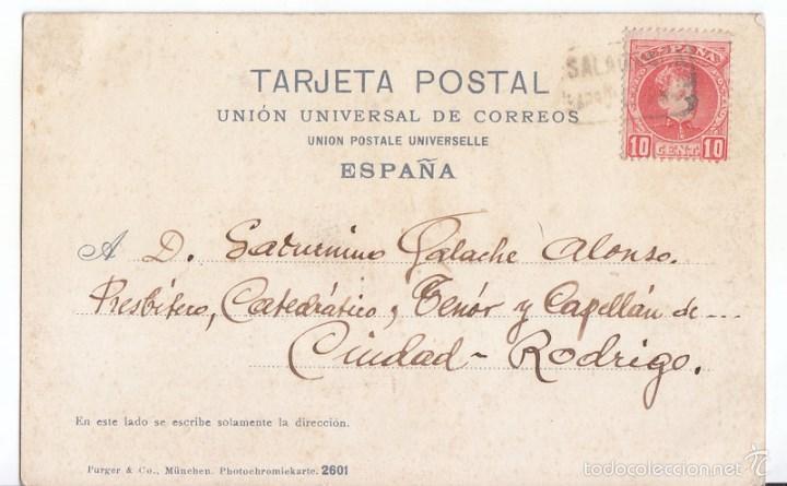 POSTAL CON CARTERÍA DE SALANCA. CON SELLO DEL CADETE. A CIUDAD RODRIGO. (Sellos - España - Alfonso XIII de 1.886 a 1.931 - Cartas)