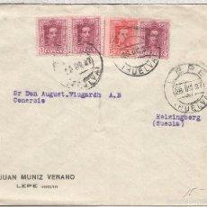 Timbres: LEPE HUELVA CC A SUECIA 1927 SELLOS VAQUER. Lote 56596379