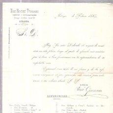 Sellos: CIRCULAR CON SELLO. JOSÉ GIMENEZ FERNANDEZ. COMISION Y REPRESENTACIÓN. MALAGA. FEBRERO DE 1887.. Lote 56684723