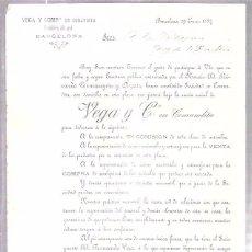 Sellos: CIRCULAR CON SELLO. VEGA Y COMPAÑÍA, EN COMANDITA. BARCELONA. ENERO DE 1887.. Lote 56685170