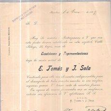 Sellos: CIRCULAR CON SELLO. E. TOMÁS Y J. SALA. COMISIONES Y REPRESENTACIONES. BARCELONA. ENERO DE 1897.. Lote 56685525