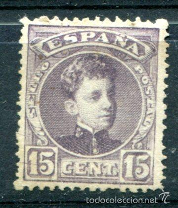 EDIFIL 245. 15 CTS ALFONSO XIII TIPO CADETE. COLOR CASTAÑO LILA. NUEVO SIN GOMA. MUY BIEN CENTRADO (Sellos - España - Alfonso XIII de 1.886 a 1.931 - Nuevos)