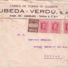 Sellos: F11-5-CARTA CORREO INTERIOR BARCELONA 1930. FRANQUEO VAQUER 5 CTS X 3. Lote 56729689