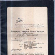 Sellos: TILBURG, 1940. ESQUELA DE DON BERNARDUS JOSEPHUS MARIA VERBUNT. CON SELLO. VER. Lote 56771861